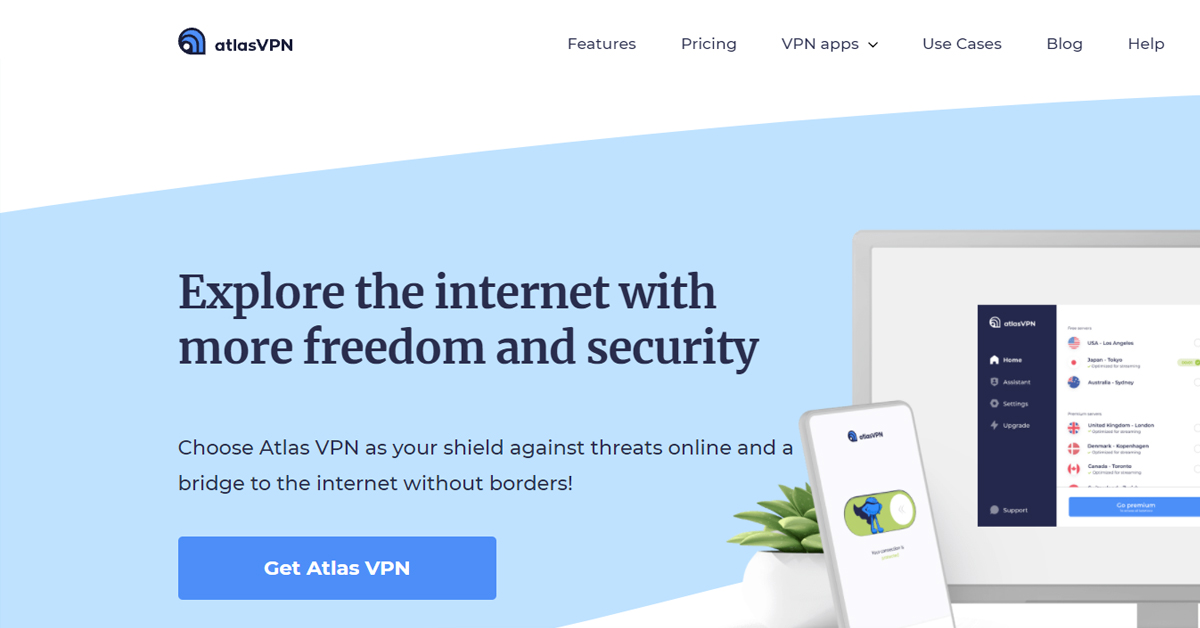 Atlas VPN- Explore the internet with more freedom and security